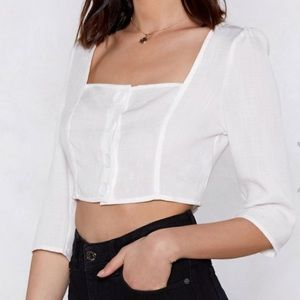Nasty Gal White square neck top